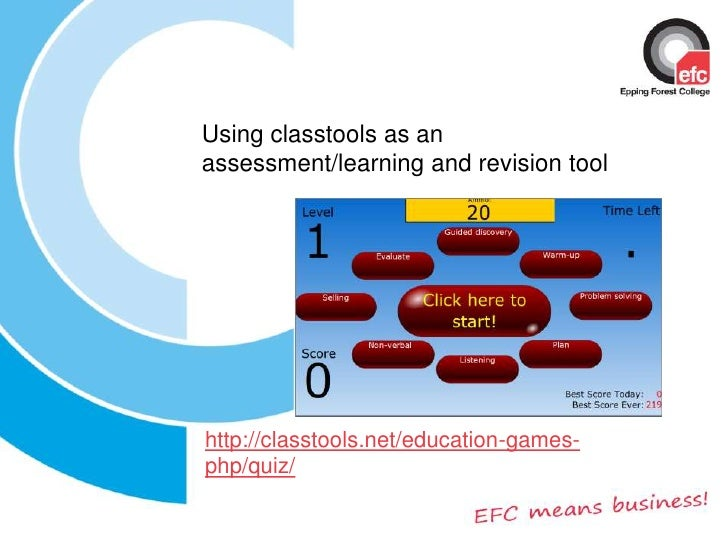 Using classtools as an assessment/learning and revision tool<br />http://classtools.net/education-games-php/quiz/<br />
