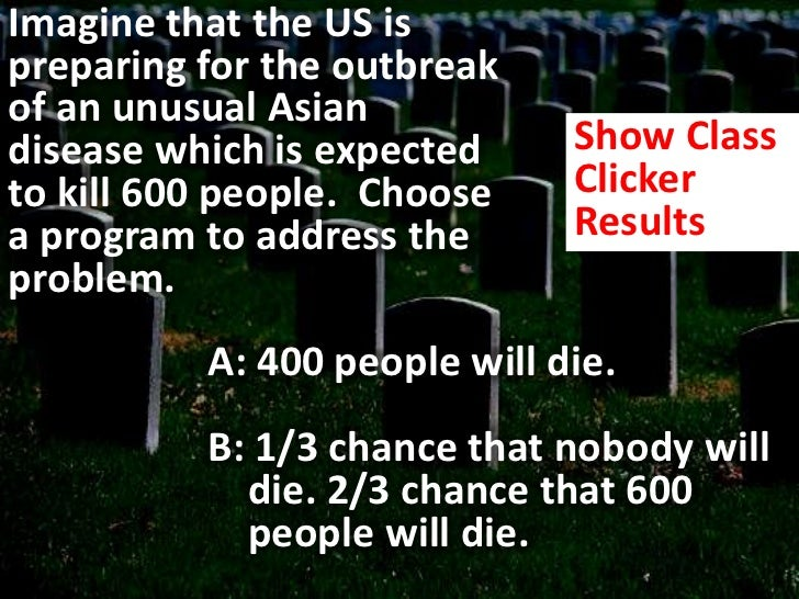 Imagine that the US is preparing for the outbreak of an unusual Asian disease which is expected to kill 600 people.  Choos...