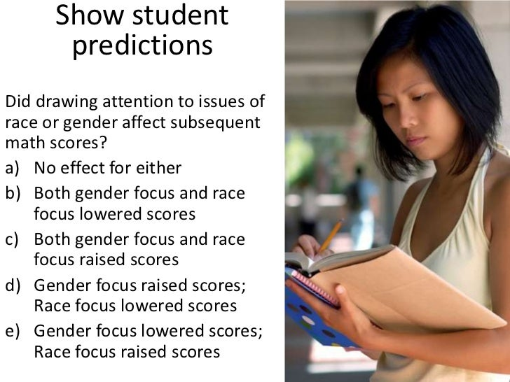 Show student predictions<br />Did drawing attention to issues of race or gender affect subsequent math scores?<br />No eff...