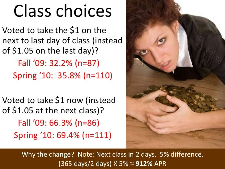 Class choices<br />Voted to take the $1 on the next to last day of class (instead of $1.05 on the last day)?<br />Fall '09...