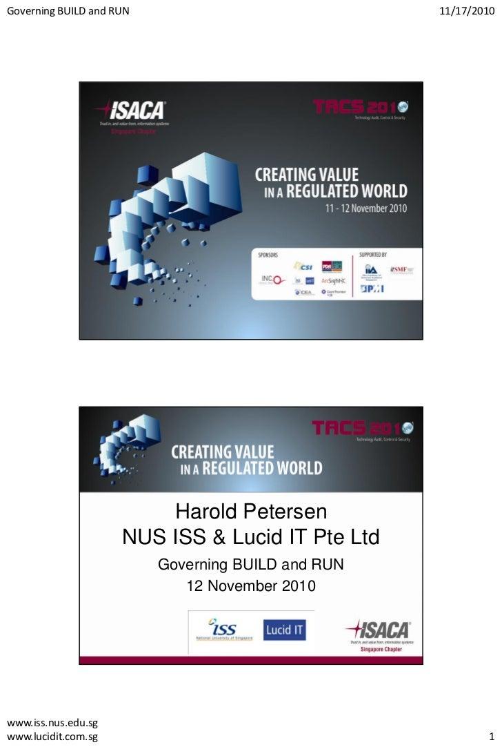 Governing BUILD and RUN                             11/17/2010                         Harold Petersen                    ...