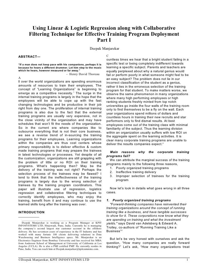 Using Linear & Logistic Regression along with Collaborative          Filtering Technique for Effective Training Program De...