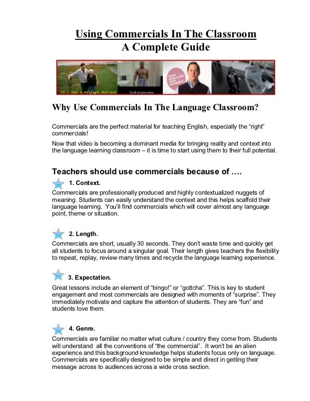 Using Commercials In The Classroom                 A Complete GuideWhy Use Commercials In The Language Classroom?Commercia...
