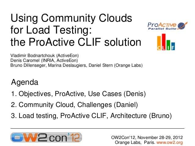 Using Community Cloudsfor Load Testing:the ProActive CLIF solutionVladimir Bodnartchouk (ActiveEon)Denis Caromel (INRIA, A...