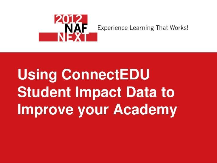 Using ConnectEDUStudent Impact Data toImprove your Academy