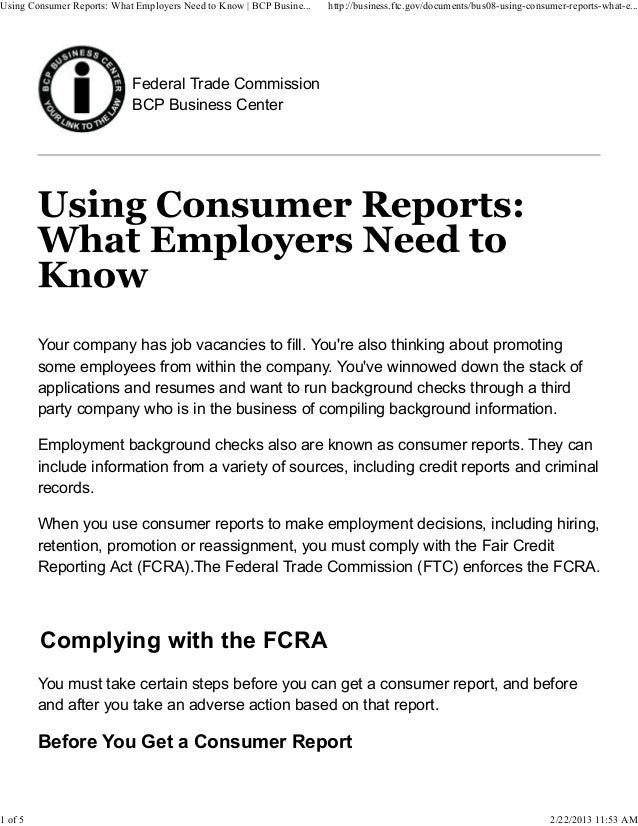 Using Consumer Reports: What Employers Need to Know | BCP Busine...   http://business.ftc.gov/documents/bus08-using-consum...