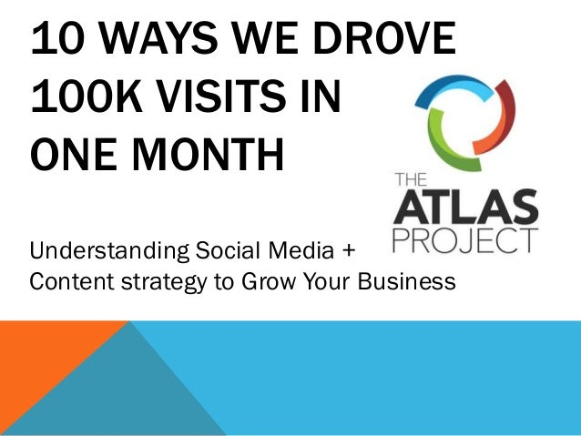 10 WAYS WE DROVE 100K VISITS IN ONE MONTH Understanding Social Media + Content strategy to Grow Your Business