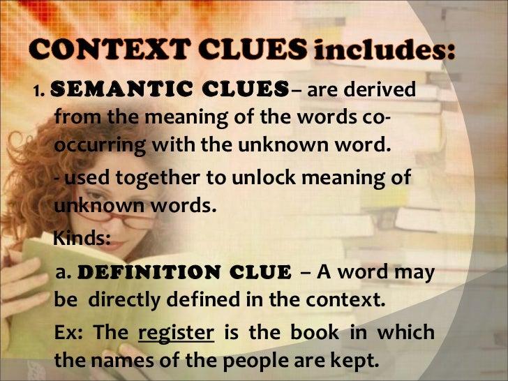 Vocabulary development context and semantic analysis to identify.