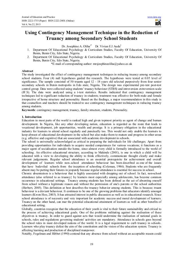 using contingency management technique in the reduction of truancy am