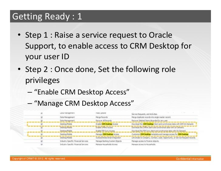 Using crm desktop with oracle crm on demand