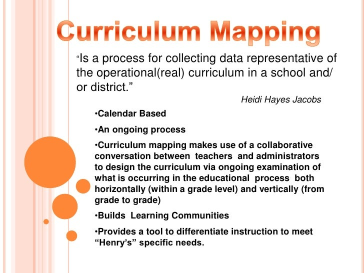 use of curriculum mapping to build a learning community