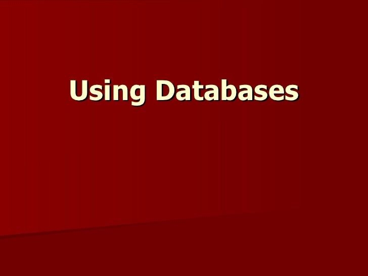 Using Databases