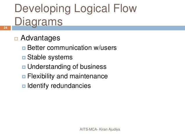 developing logical flow diagrams  advantages  better communication  w/users  stable systems  understanding of business  flexibility and  maintenance