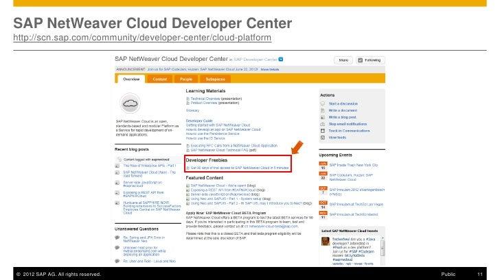 SAP NetWeaver Cloud Developer Centerhttp://scn.sap.com/community/developer-center/cloud-platform© 2012 SAP AG. All rights ...
