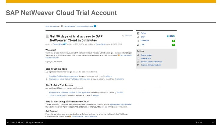 SAP NetWeaver Cloud Trial Account© 2012 SAP AG. All rights reserved.   Public   12