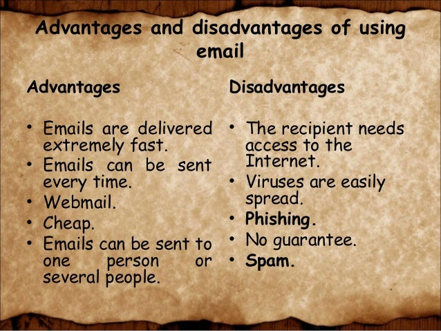 advantages and disadvantages of email pdf