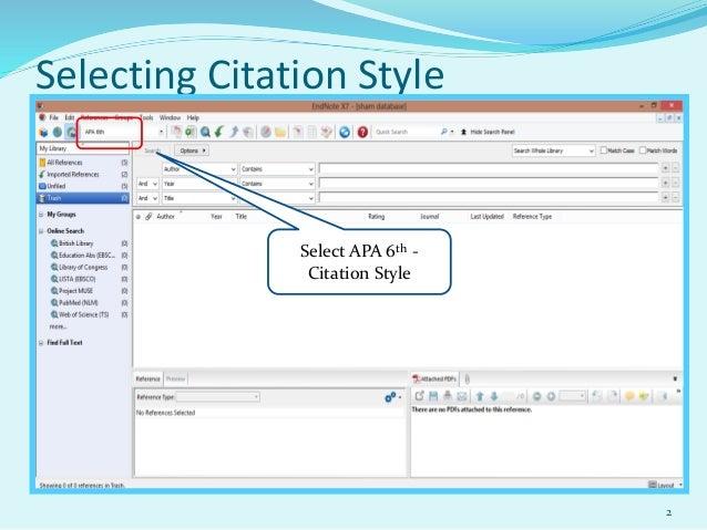 Using endnote Slide 2