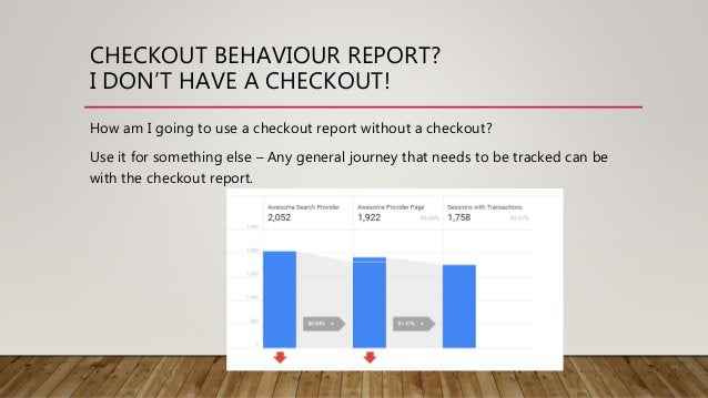 CHECKOUT BEHAVIOUR REPORT? I DON'T HAVE A CHECKOUT! How am I going to use a checkout report without a checkout? Use it for...