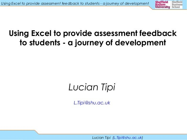 Using Excel To Provide Assessment Feedback To Students A Journey Of