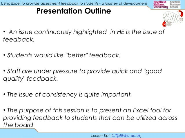 Using Excel To Provide Assessment Feedback To Students A Journey Of…