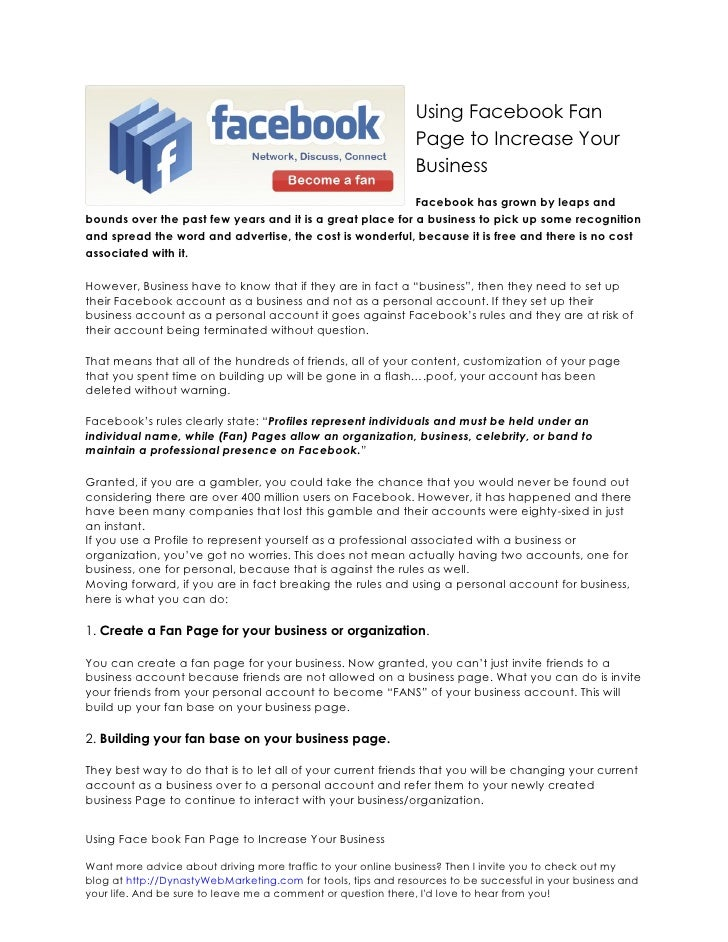Using Facebook Fan                                                                Page to Increase Your                   ...