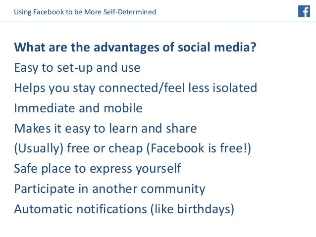 Safe Self Determined And Social In >> Using Facebook To Be More Self Determined