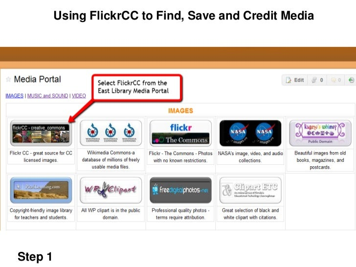 Using FlickrCC to Find, Save and Credit MediaStep 1