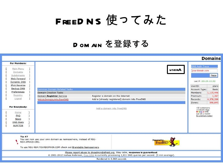 FreeD N S 使ってみた  D om ain を登録する                   userA