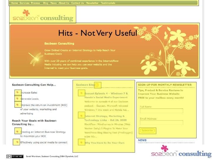 Hits - Not Very Useful     Sarah Worsham, Sazbean Consulting DBA Dynalink, LLC