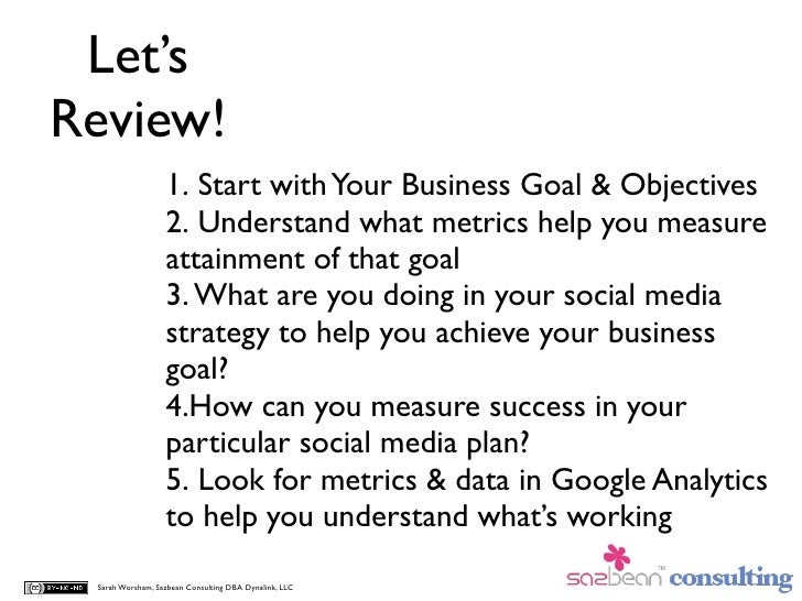 Let's Review!                   1. Start with Your Business Goal & Objectives                   2. Understand what metrics...