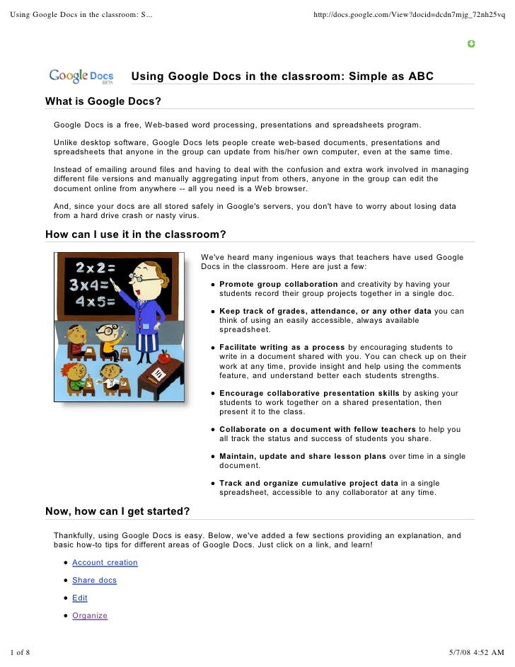 Using Google Docs in the classroom: S...                                       http://docs.google.com/View?docid=dcdn7mjg_...
