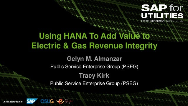 A collaboration of: Using HANA To Add Value to Electric & Gas Revenue Integrity Gelyn M. Almanzar Public Service Enterpris...