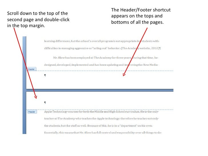Using Headers and Footers in Word