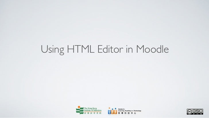 Using HTML Editor in Moodle