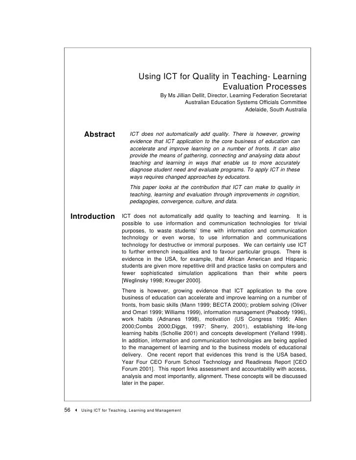 Using ICT for Quality in Teaching- Learning                                                        Evaluation Processes   ...