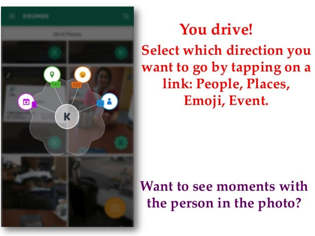 You drive! Select which direction you want to go by tapping on a link: People, Places, Emoji, Event. Want to see moments w...