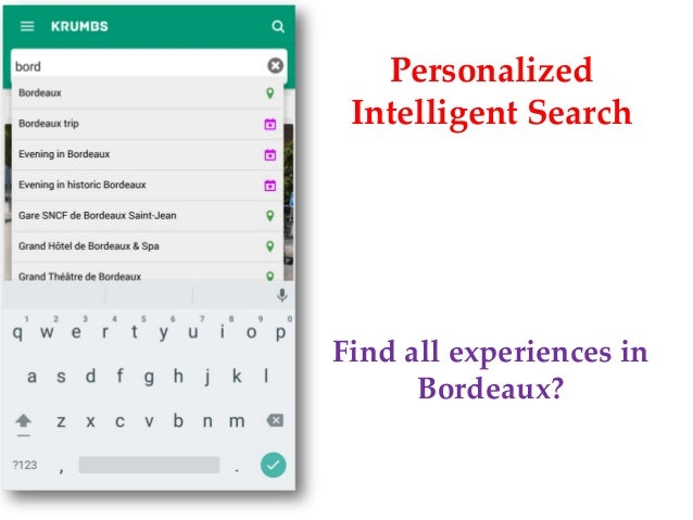 Personalized Intelligent Search Find all experiences in Bordeaux?