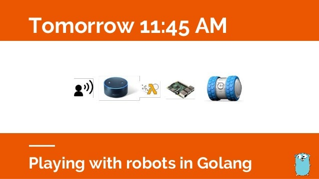 Tomorrow 11:45 AM Playing with robots in Golang