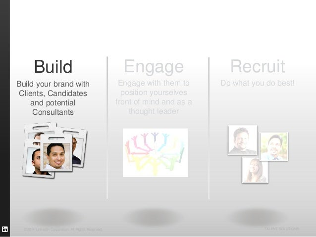 ©2014 LinkedIn Corporation. All Rights Reserved. TALENT SOLUTIONS Build Build your brand with Clients, Candidates and pote...