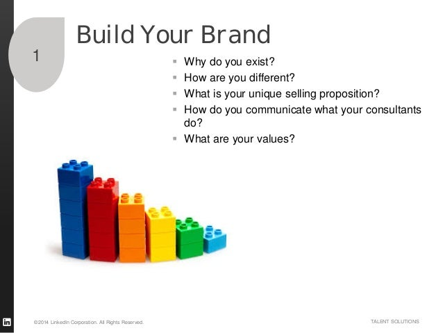 ©2014 LinkedIn Corporation. All Rights Reserved. TALENT SOLUTIONS Build Your Brand  Why do you exist?  How are you diffe...