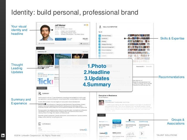 ©2014 LinkedIn Corporation. All Rights Reserved. TALENT SOLUTIONS Identity: build personal, professional brand Skills & Ex...