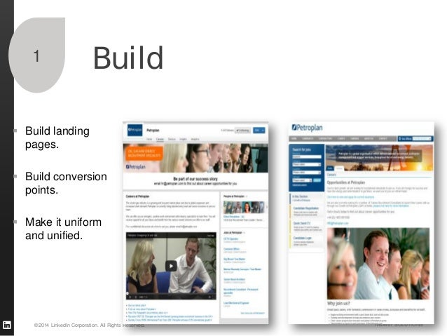 ©2014 LinkedIn Corporation. All Rights Reserved. TALENT SOLUTIONS Build1  Build landing pages.  Build conversion points....