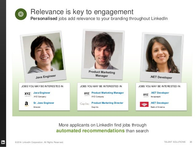 ©2014 LinkedIn Corporation. All Rights Reserved. TALENT SOLUTIONS More applicants on LinkedIn find jobs through automated ...