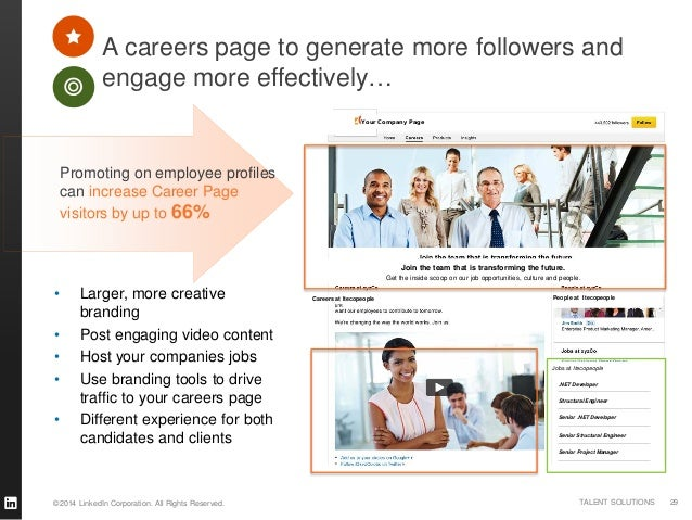 ©2014 LinkedIn Corporation. All Rights Reserved. TALENT SOLUTIONS A careers page to generate more followers and engage mor...