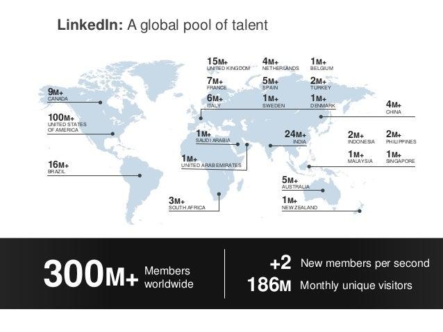 LinkedIn: A global pool of talent 2M+ INDONESIA 2M+ PHILIPPINES 1M+ MALAYSIA 1M+ SINGAPORE 1M+ SAUDI ARABIA 16M+ BRAZIL 10...