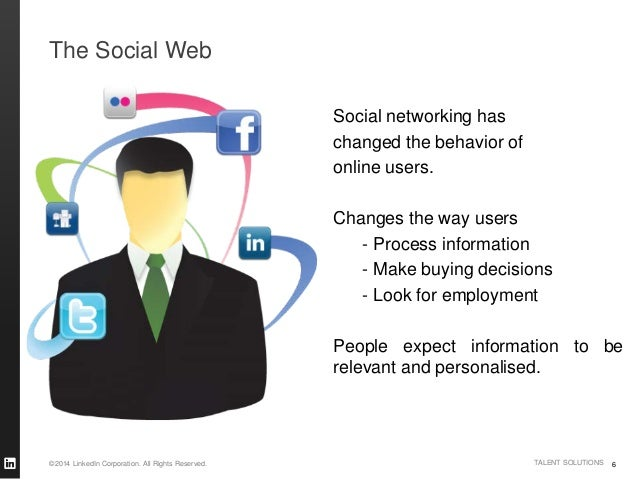©2014 LinkedIn Corporation. All Rights Reserved. TALENT SOLUTIONS The Social Web 6 Social networking has changed the behav...
