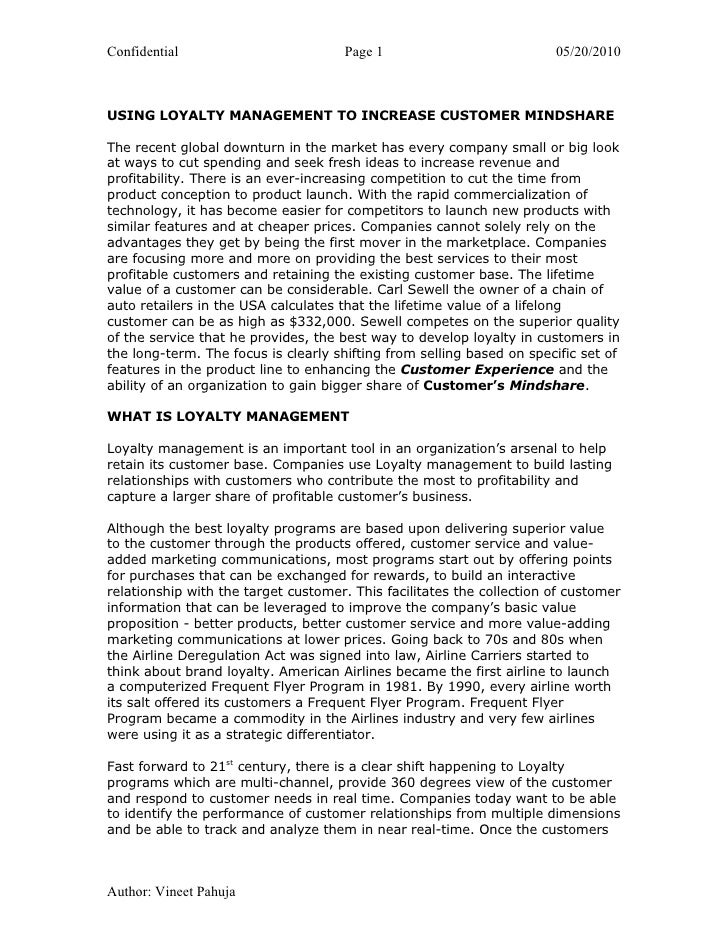 Confidential                          Page 1                           05/20/2010USING LOYALTY MANAGEMENT TO INCREASE CUST...