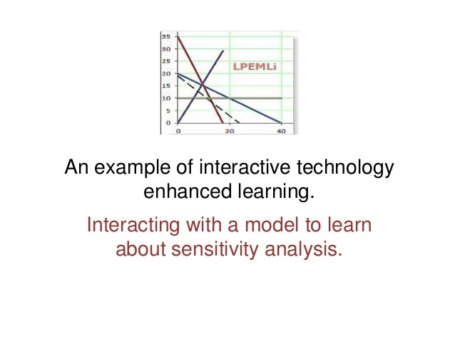 An example of interactive technology enhanced learning. Interacting with a model to learn about sensitivity analysis.