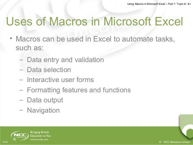 Using macros in microsoft excel part 1