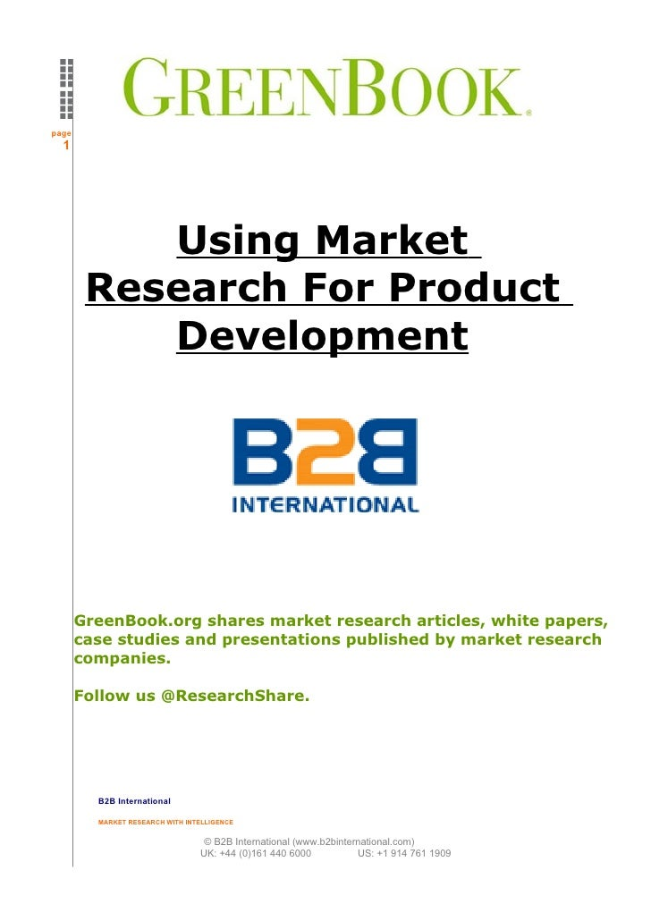 page   1                Using Market         Research For Product            Development            GreenBook.org shares m...